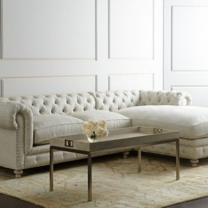Warner Linen Right-Chaise Sectional Sofa