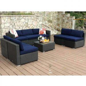 PHI VILLA 8-Piece Wicker Patio Outdoor Sectional Sofa