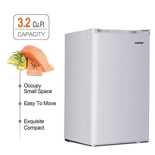 Kuppet Compact Refrigerator Mini Refrigerator Small Drink Food Storage Machine for Dorm, Garage, Camper, Basement or Office, Single Door Mini Fridge, 3.2 Cu.Ft (White)