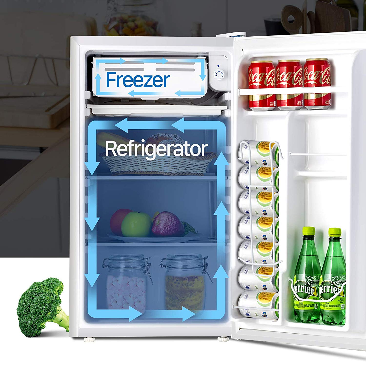 Kuppet Compact Refrigerator Mini Refrigerator Small Drink Food Storage Machine for Dorm, Garage, Camper, Basement or Office, Single Door Mini Fridge, 3.2 Cu.Ft (White)