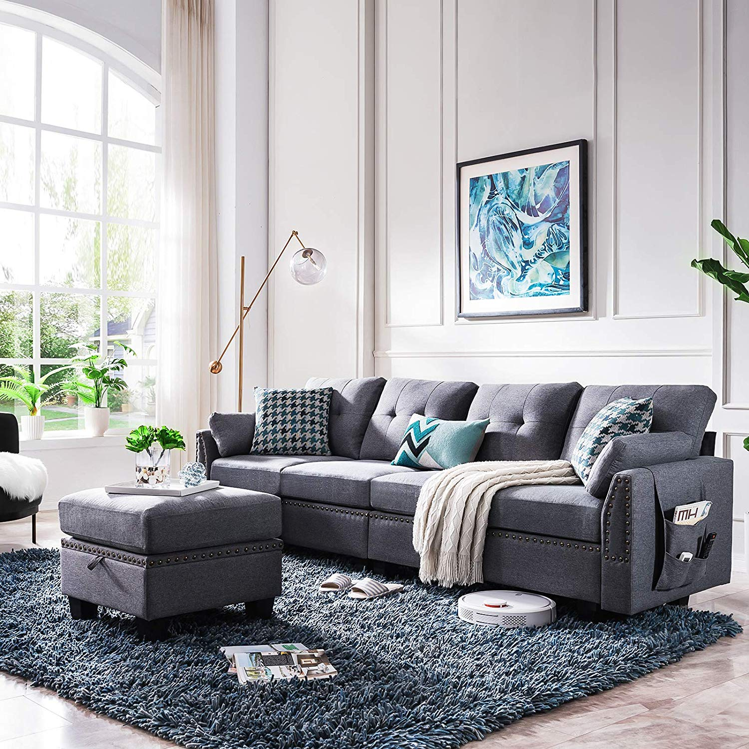 HONBAY Reversible Sectional Sofa Couch for Living Room L-Shape Sofa Couch 4-seat Sofas Sectional for Apartment Dark Grey