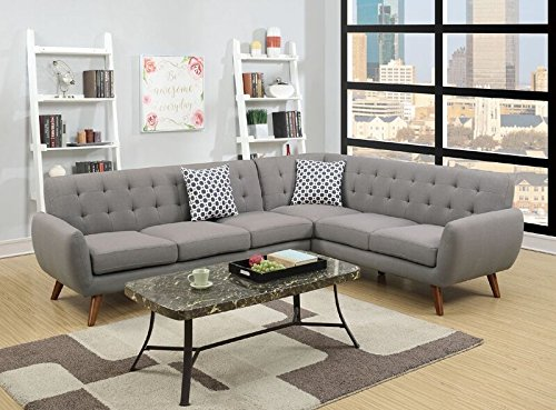 Poundex Bobkona Galiana Linen-Like Polyfabric SECTIONAL in Grey Color