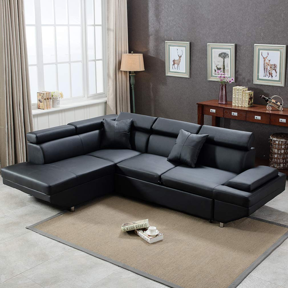 FDW Sectional Sofa for Living Room Futon Sofa Bed Couches and Sleeper