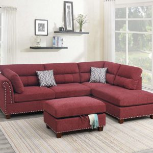 Poundex F6419 Sectional, Paprika Red