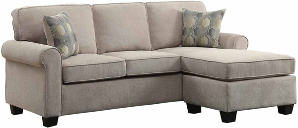 """Homelegance Clumber 82"""" Reversible Sectional with Accent Pillows, Beige"""