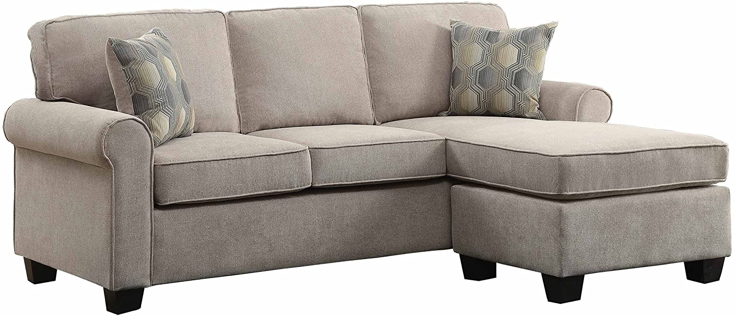 "Homelegance Clumber 82"" Reversible Sectional with Accent Pillows, Beige"