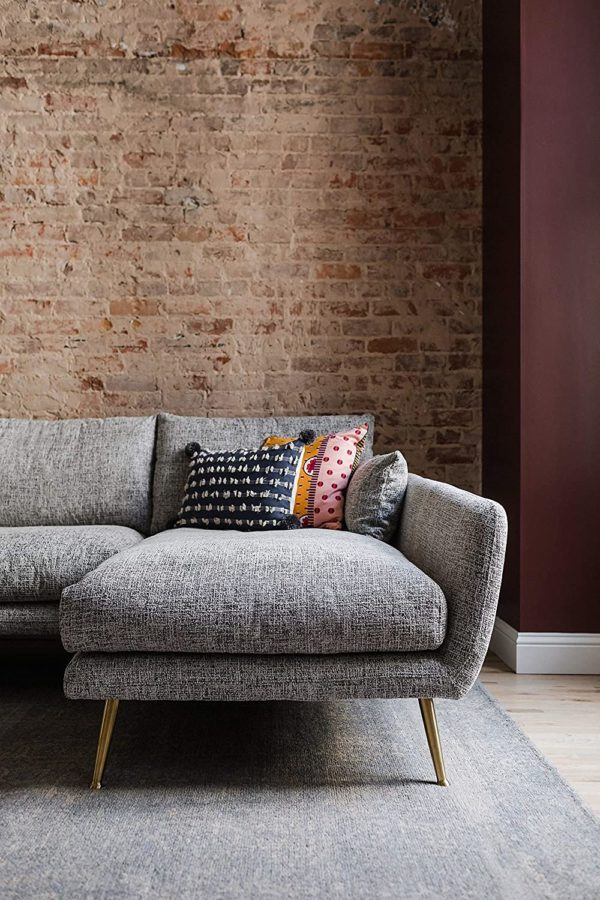 Edloe Finch Modern Sectional Sofa Right Facing Chaise Cruelty-free Synthetic Feather Cushions, Grey