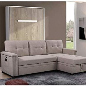 Lilola Home Ashlyn Light Gray Fabric Reversible Sleeper Sofa USB Charger Storage Chaise