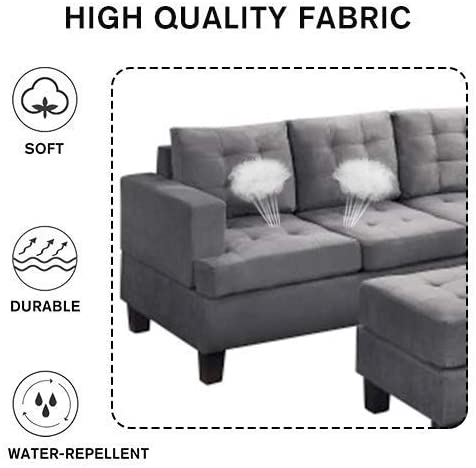 Recaceik 3 Pieces Modular Sectional Sofas with Ottoman