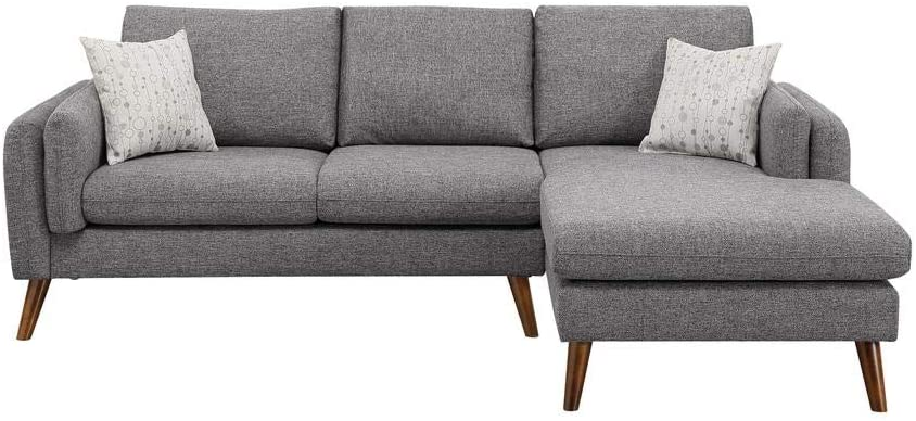 DHP Haven Small Space Sectional Futon Sofa, Light Grey Linen