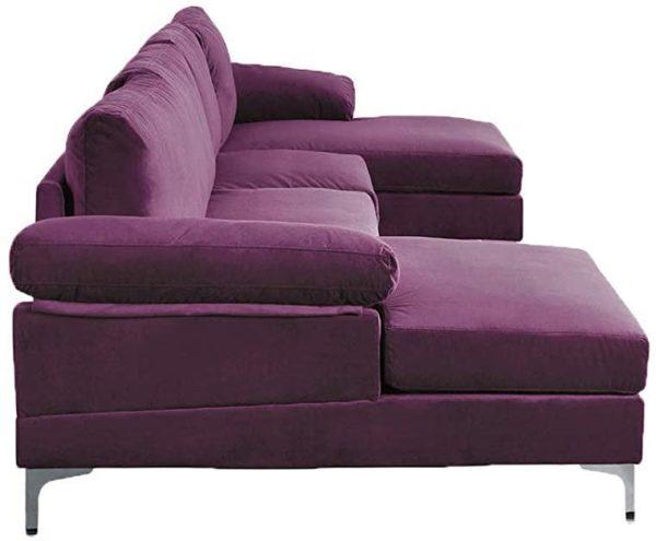 Sofamania Modern Sectional, Purple