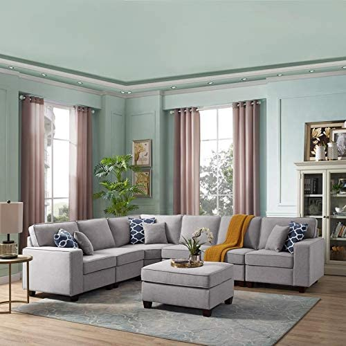 Lilola Home Casanova 7Pc Modular Sectional Sofa with Ottoman