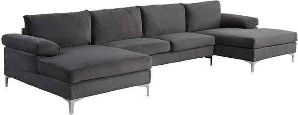Sofamania Modern Sectional, Large, Grey