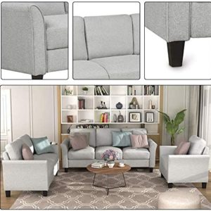 Recaceik Piece Couch Furniture, Living Room Sectional, Linen Fabric, Polyester, Modular Sofa (1 Loveseat + 3-Seat, Gray White)