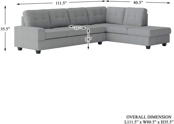 Homelegance Fabric Sectional Sofa and Ottoman Set, Gray