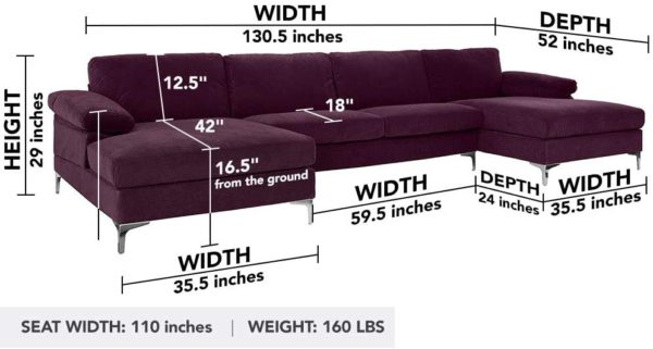 Sofamania Modern Sectional, Purple
