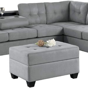 Homelegance Fabric Sectional Sofa and Ottoman Set, Gray