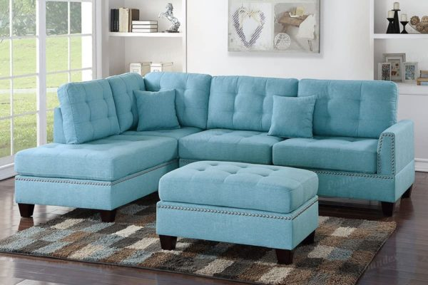 Poundex PDEX- Upholstered Sofas/Sectionals/Armchairs,Light Blue