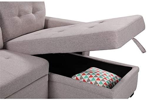 Lilola Home Ashlyn Light Gray Fabric Reversible Sleeper Sofa USB Charger Storage Chaise