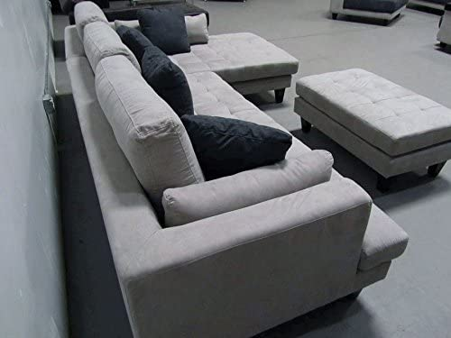 3pc Contemporary Grey Microfiber Sectional Sofa Chaise Ottoman S168RG