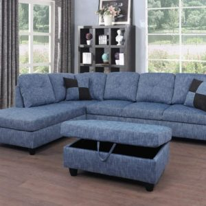Beverly Fine Furniture Right Facing Linen Russes Sectional Sofa Set With Ottoman, Grey