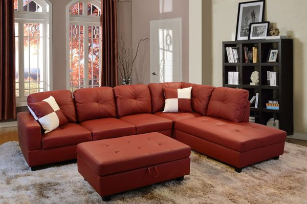 Lifestyle Furniture Right Facing 3PC Sectional Sofa Set,Faux Leather,Red(LS094B)