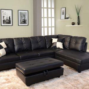 Beverly Fine Funiture Sectional Sofa Set, 91B Black