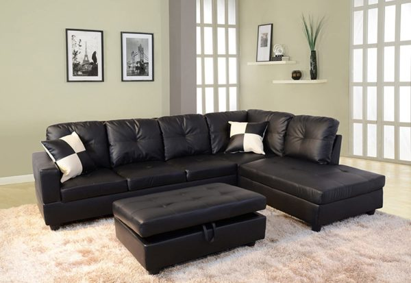 Beverly Fine Funiture Sectional Sofa Set, 91B Black