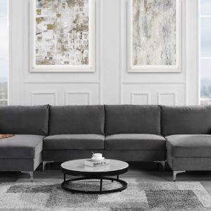 Sofamania Modern Sectional, Large, Grey