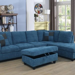 Beverly Fine Furniture Right Facing Russes Sectional Sofa Set With Ottoman, Blue