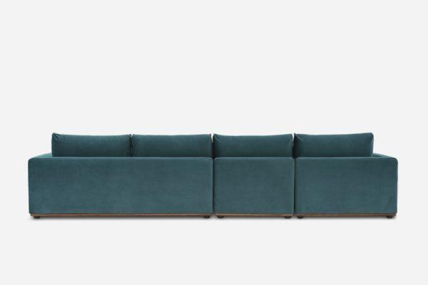 Alfie Extended Chaise Sectional Sofa Left Hand Facing, Deep Teal Velvet