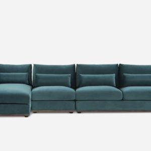Alfie Extended Chaise Sectional Sofa Left Hand Facing, Deep Teal Velvet