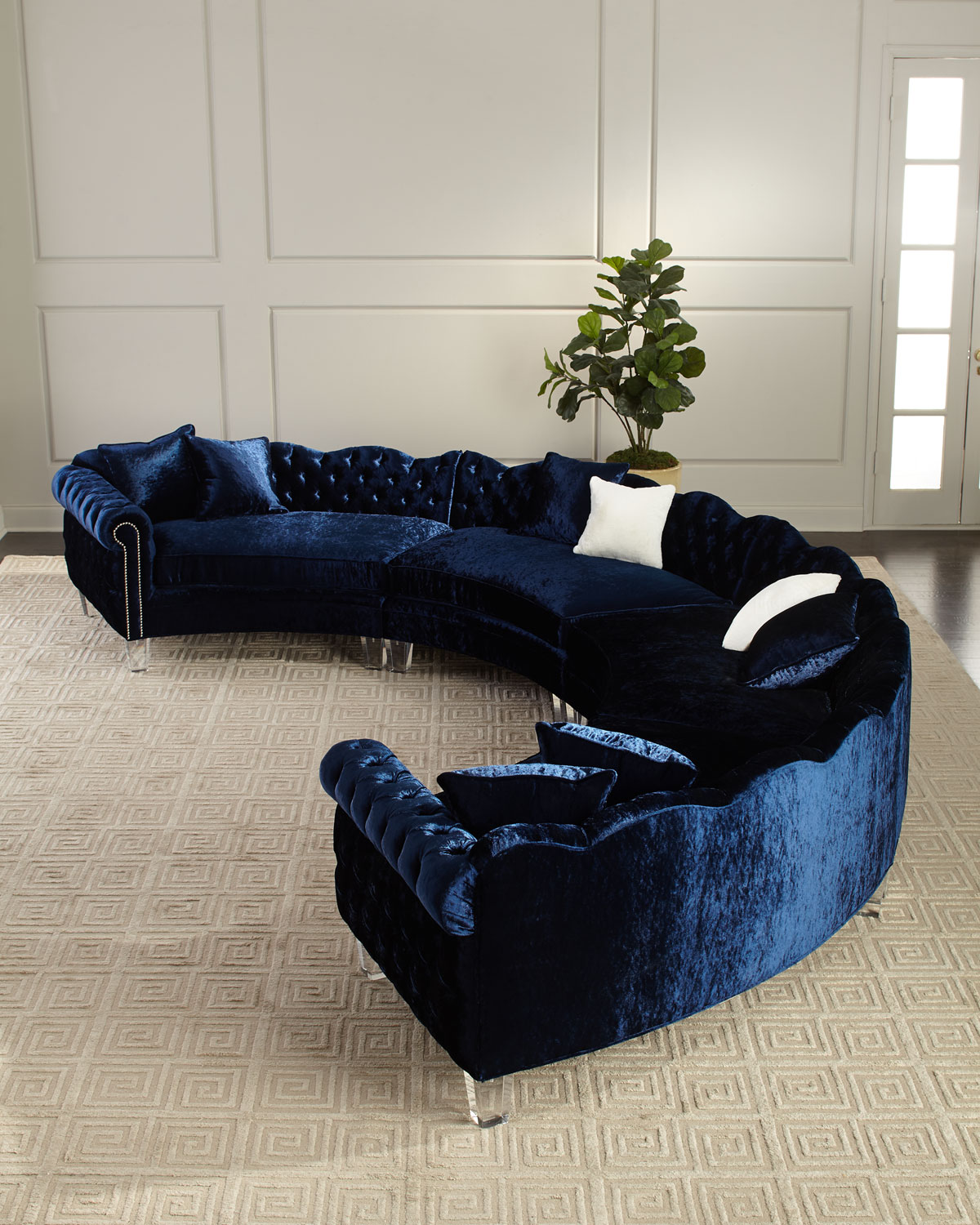 4-Piece Crushed Velvet Sectional