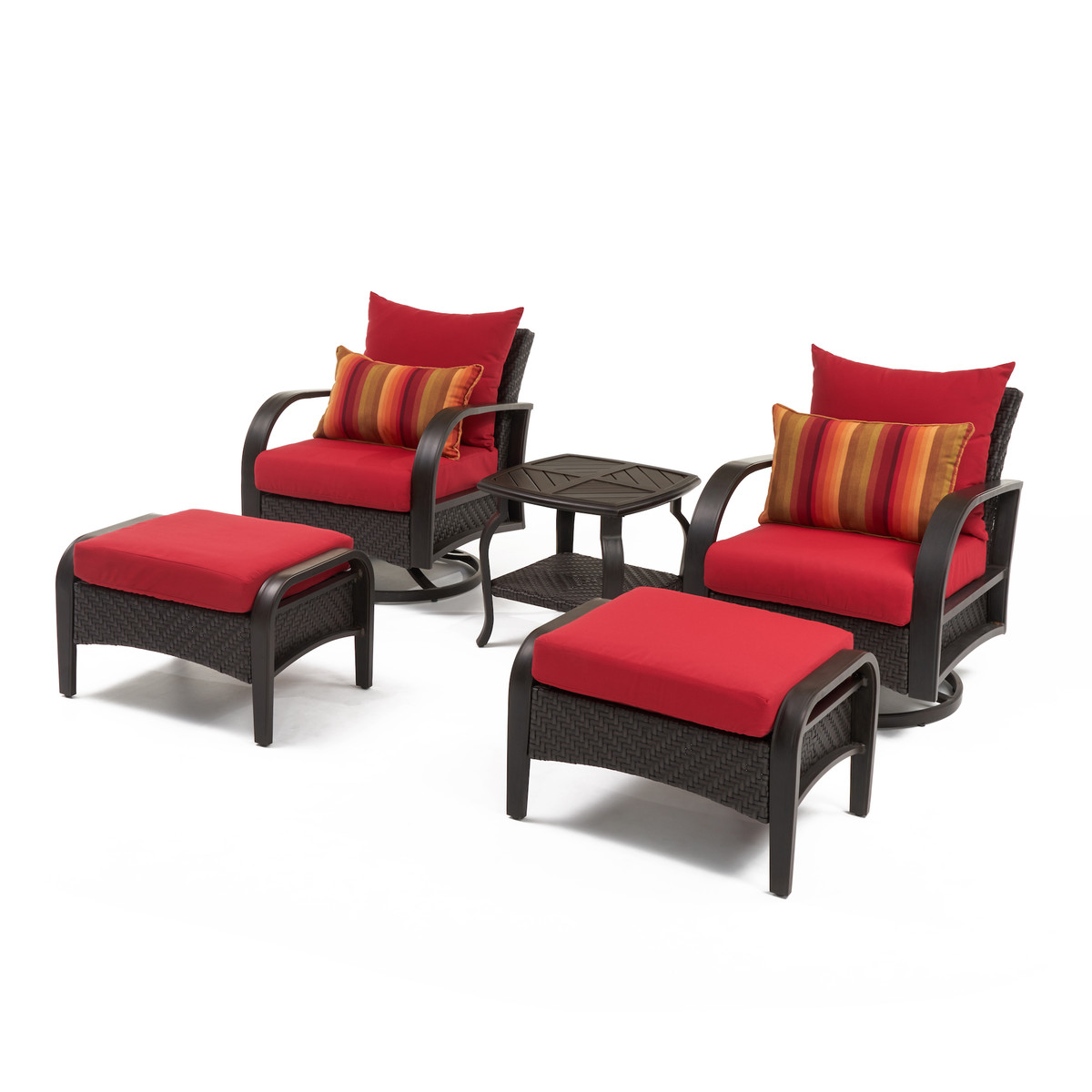 Barcelo™ 5 Piece Motion Club & Ottoman Set - Sunset Red