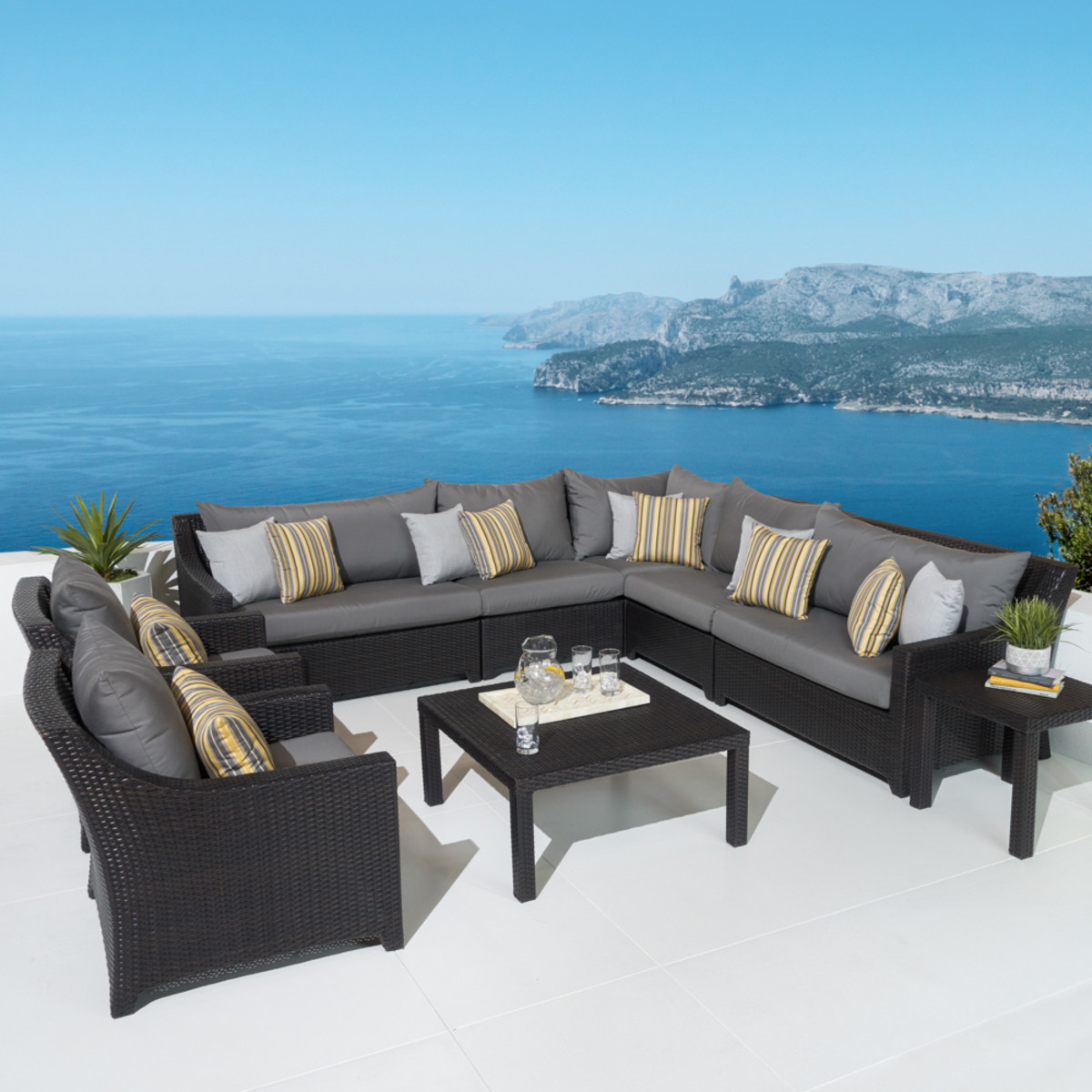 Deco™ 9 Piece Sectional and Club Set - Charcoal Gray