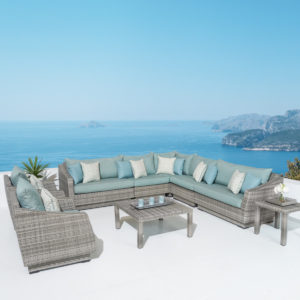 Cannes™ 9 Piece Sectional & Table - Spa Blue