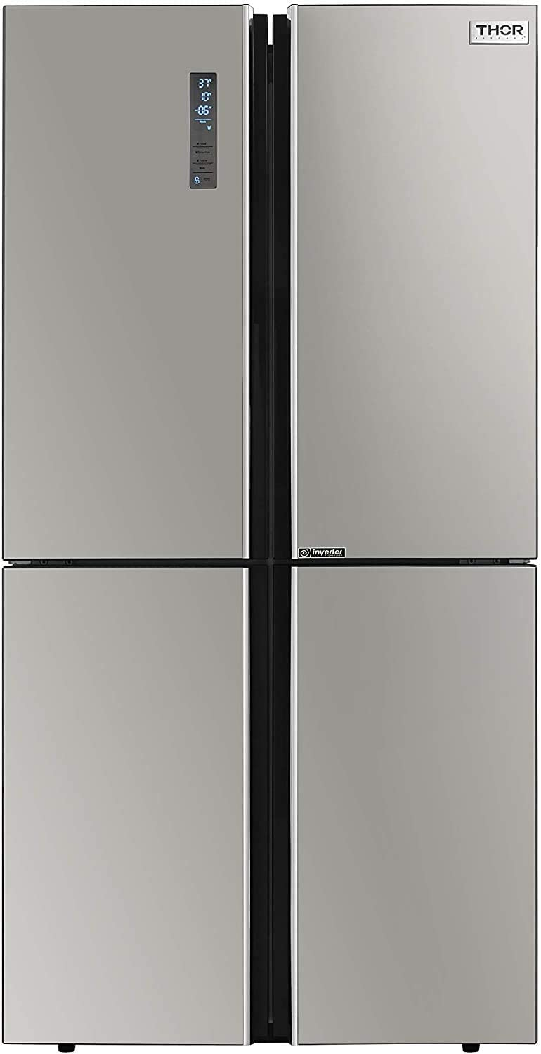 "Thor Kitchen 36"" Counter Depth French 4 Door Refrigerator, 22.6 cu. ft. Fridge, Freezer, Icebox, Automatic Ice Maker, Beverage Refrigerator, Stainless Steel"