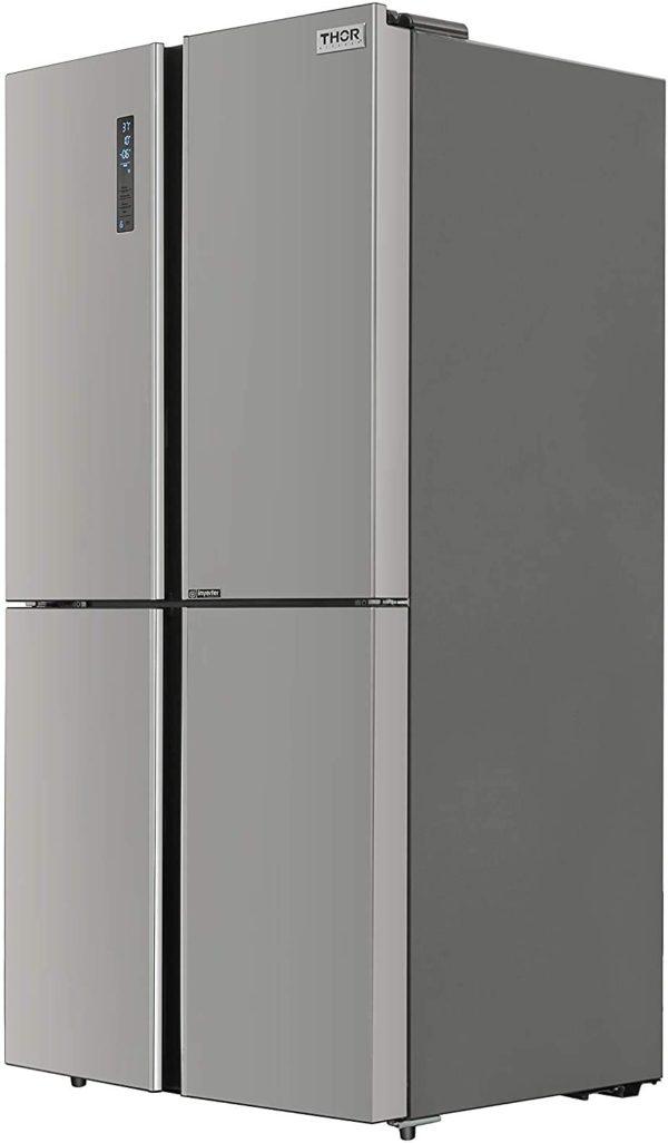 "Thor Kitchen 36"" Counter Depth French 4 Door Refrigerator, 22.6 cu. ft. Fridge, Freezer, Icebox, Automatic Ice Maker, Beverage Refrigerator, Stainless Steel"