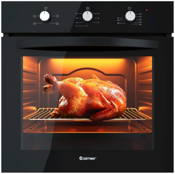 """COSTWAY 24"""" Built-In Single Wall Oven Electric 2.5 Cu. Ft. Capacity, Multifunctional Under Counter Oven, Full 2-layer Black Glass with Cooling Down Fan..."""