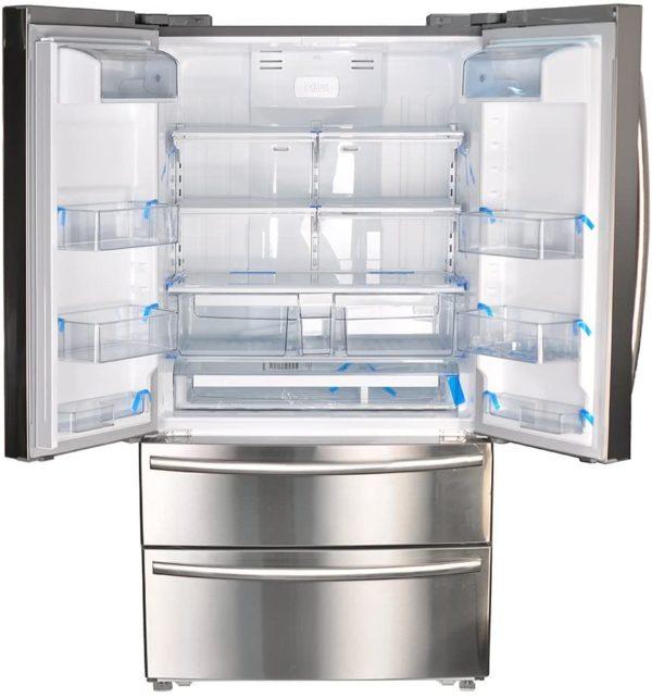 SMETA 36 Inch Counter Depth French Door Refrigerator Bottom Freezer, Fingerprint Resistant, 20.66 cu ft Capacity, Stainless Steel
