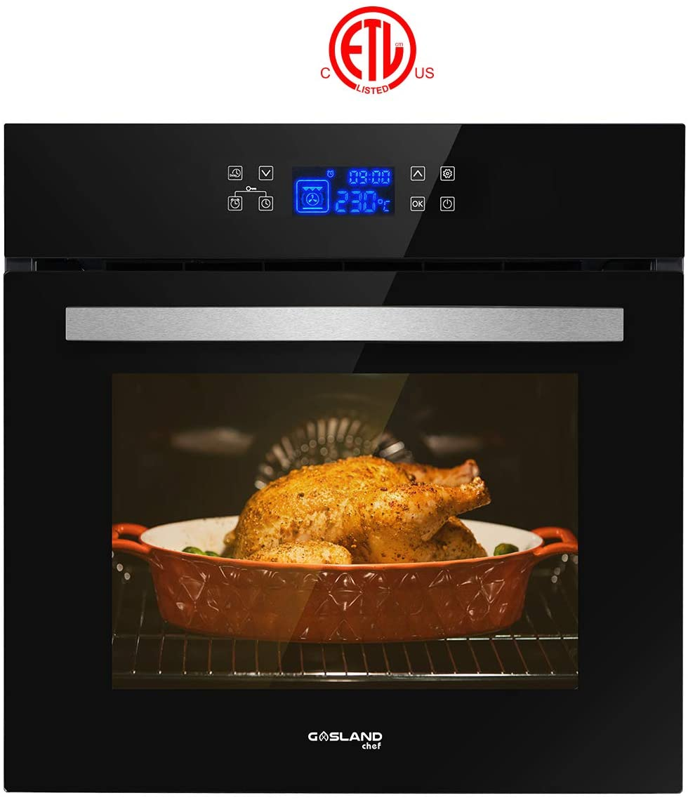 "Single Wall Oven, GASLAND Chef ES611TB 24"" Built-in Electric Ovens, 240V 3200W 2.3Cu.f 11 Cooking Functions Convection Wall Oven with Rotisserie, Digital Display, Touch Control, Tempered Glass Finish"
