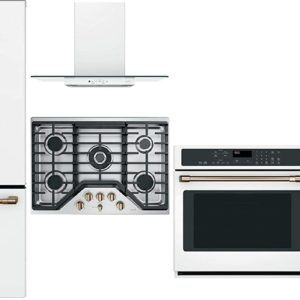"GE Cafe 5 Piece Kitchen Package CFE28TP4MW2 36""French Door Refrigerator, CGP95303MS2 30"" Gas Cooktop, CVW73014MWM 30"" Hood, CTS90DP4MW2 30"" Wall Oven CDT836P4MW2 24"" Built In Dishwasher in Matte White"