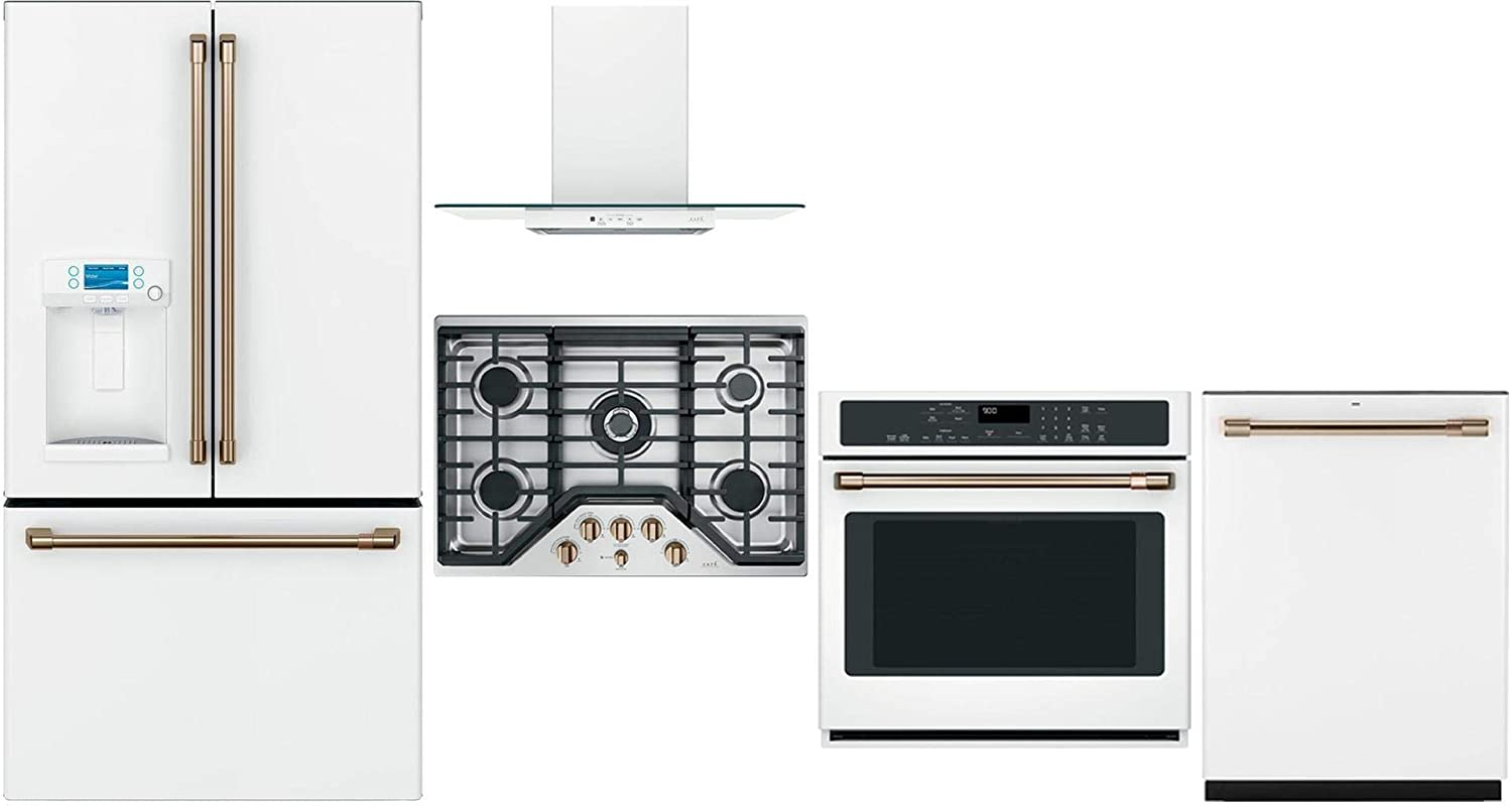 """GE Cafe 5 Piece Kitchen Package CFE28TP4MW2 36""""French Door Refrigerator, CGP95303MS2 30"""" Gas Cooktop, CVW73014MWM 30"""" Hood, CTS90DP4MW2 30"""" Wall Oven CDT836P4MW2 24"""" Built In Dishwasher in Matte White"""
