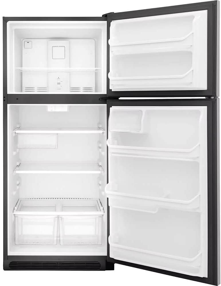 Frigidaire FFTR2021TS 30 Inch Freestanding Top Freezer Refrigerator with 20 cu. ft. Total Capacity, 2 Glass Shelves, 5.1 cu. ft. Freezer Capacity, in Stainless Steel
