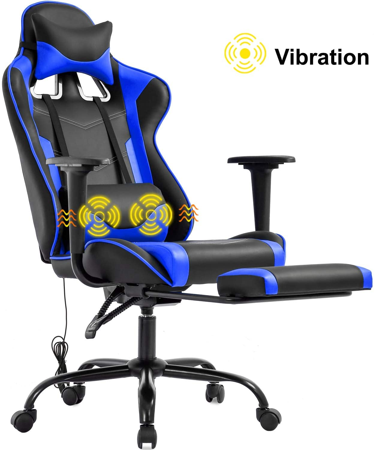 Gaming Chair Office Chair Desk Chair Massage PU Leather Recliner Racing Chair with Headrest Armrest Footrest Rolling Swivel Task PC Ergonomic Computer Chair for Back Support, Blue