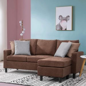 Walsunny Convertible Sectional Sofa Couch with Reversible Chaise, L-Shaped Couch with Modern Linen Fabric for Small Space (Chocolate Brown)