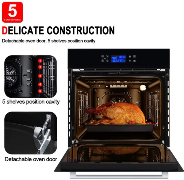 """Single Wall Oven, GASLAND Chef ES611TB 24"""" Built-in Electric Ovens, 240V 3200W 2.3Cu.f 11 Cooking Functions Convection Wall Oven with Rotisserie, Digital Display, Touch Control, Tempered Glass Finish"""
