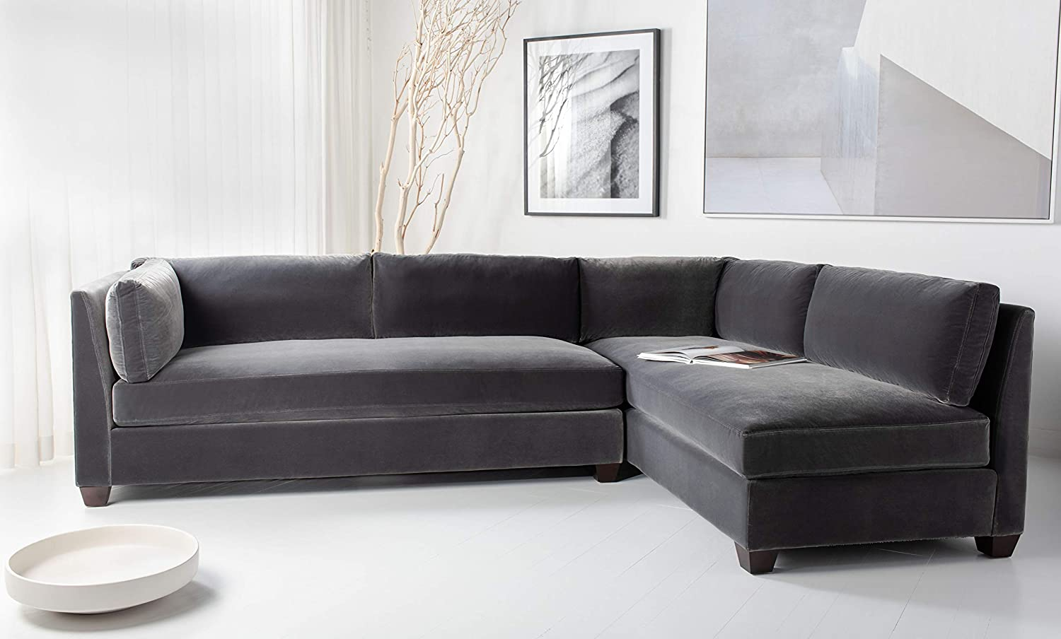 Safavieh Couture Home Bianchi Charcoal and Espresso Sectional Sofa
