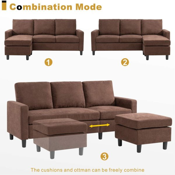 Walsunny Convertible Sectional Sofa Couch with Reversible Chaise, L-Shaped Couch with Modern Linen Fabric for Small Space (ChocolateBrown)