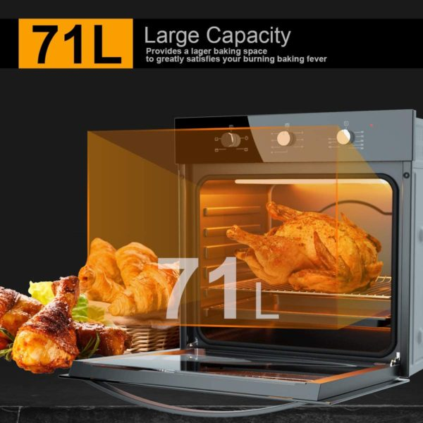"COSTWAY 24"" Built-In Single Wall Oven Electric 2.5 Cu. Ft. Capacity, Multifunctional Under Counter Oven, Full 2-layer Black Glass with Cooling Down Fan..."